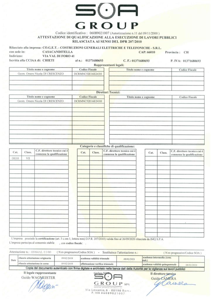 ttestato di qualificazione alla esecuzione di lavori pubblici rilasciata ai sensi del DPR 207/2010